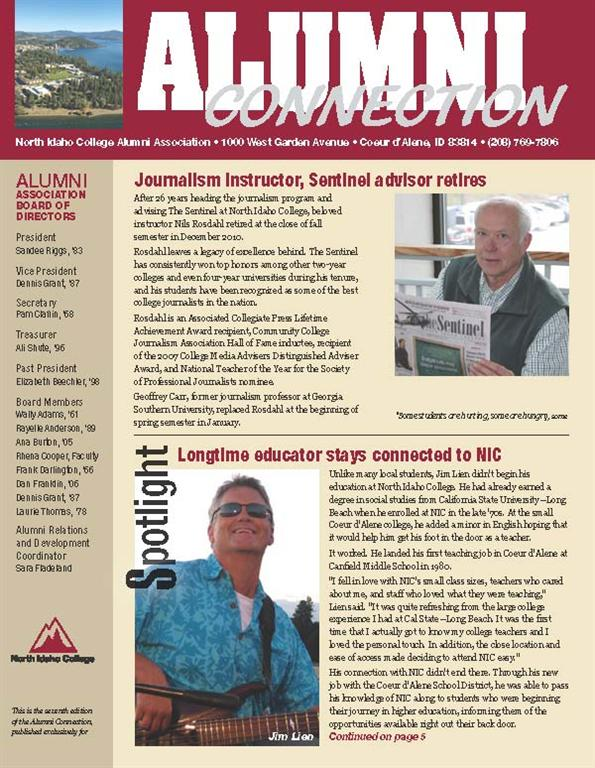 front cover of winter 2010 newsletter