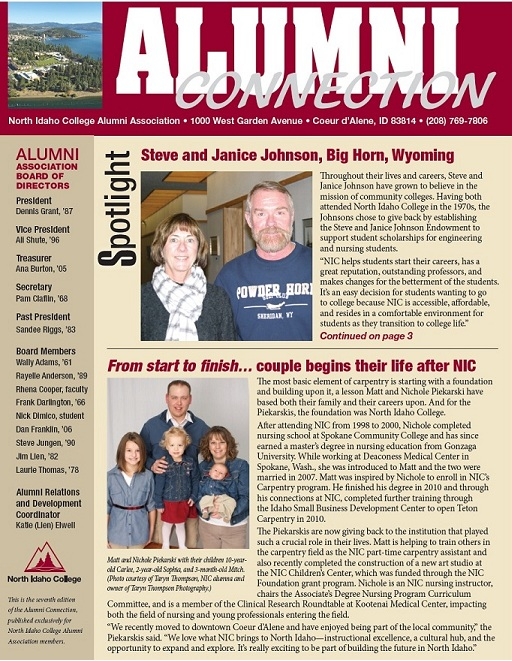 Cover of 2012 newsletter