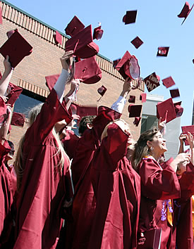 Grads throwing caps in the air