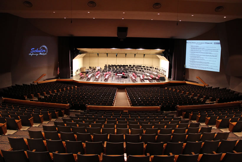 interior view of Schuler Performing Arts Center from back of hall
