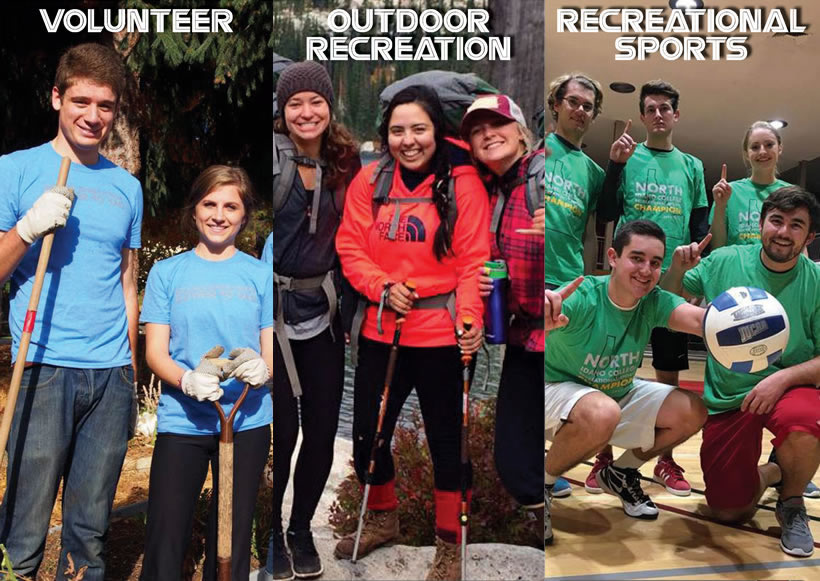 Volunteer, Outdoor Recreation, and Rec Sports students