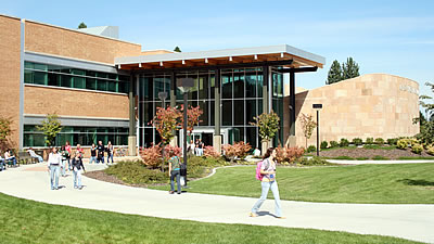 Students walking outside Meyer Health & Science Building